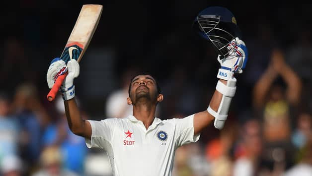 Ajinkya Rahane after completing his century © Getty Images