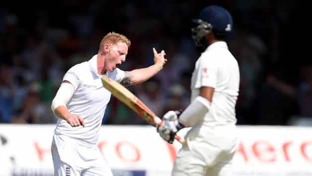 Ben Stokes celebrates after getting the big wicket of Cheteshwar Pujara © Getty Images