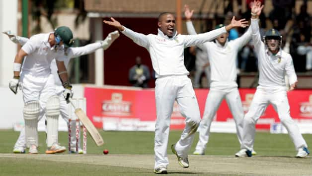 Dane Piedt took four wickets in each innings and now has the Best match figures by South African spinner on Test debut: 8-152 © AFP