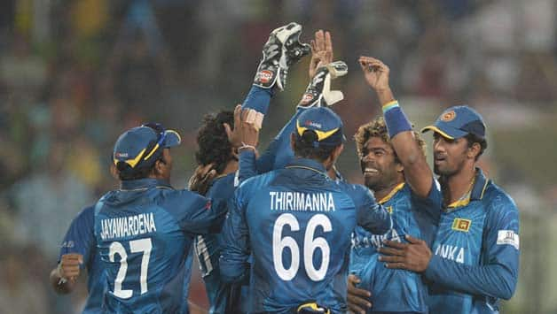 Lasith-Malinga-of-Sri-Lanka-is-congratulated-by-his-teammates-after-dismissing-Dwayne-Smith-o-33