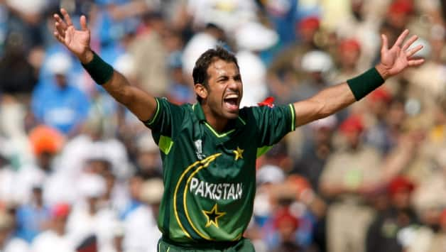 One of Wahab Riaz's finest moments was his haul of five for 46 against India at the 2011 World Cup semi final at Mohali © Getty Images
