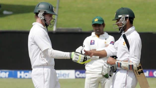 Zimbabwe batsmen Malcolm Waller and Sikandar Raza in action against Pakistan during their two-match Test series in September last year. Zimbabwe sent shockwaves across the cricketing world when they defeated a full-strength Pakistani side by 24 runs in the second Test of the series © AFP