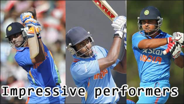 Manoj Tiwary (left), Sanju Samson (centre) and Kedar Jadhav performed well in Australia © Getty Images and Official Website of ICC