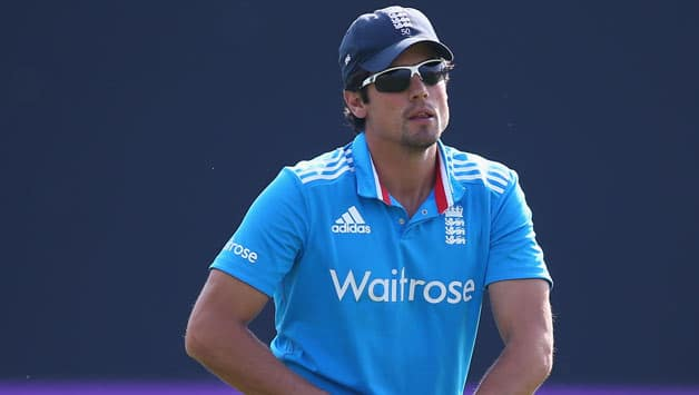 Alastair-Cook-the-captain-of-England-on-his-knees-as-the-opening-batting-pair-of-Shikhar-Dhawan-and-Ajinkya-Rahane-of-India