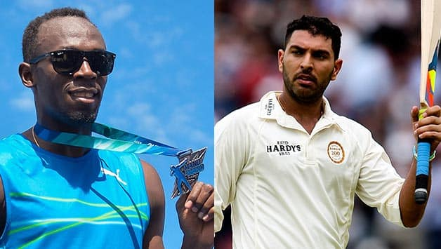 Usain Bolt and Yuvraj Singh played an seven a side exhibition cricket match © Getty Images