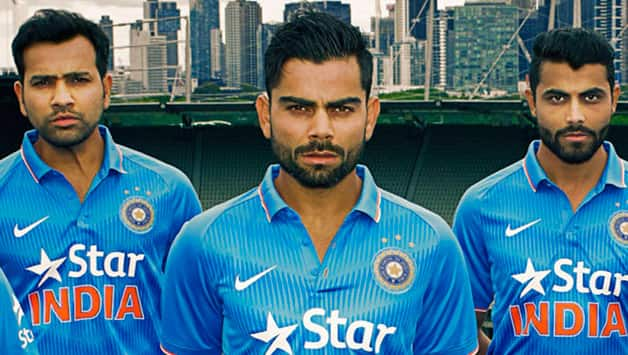 Indian cricketers pose at the Melbourne Cricket Stadium (MCG) during the launch of their new kits © Getty Images