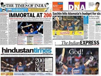 Will Sachin's 100th hundred swamp the Union Budget coverage in Saturday's front pages?