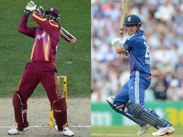Chris Gayle and Alastair Cook - brutality vs silken touch!
