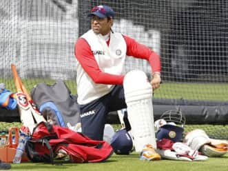 VVS Laxman sweats it out in the nets; the rest shop