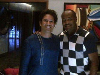 Sachin Tendulkar gets a surprise visit from Brian Lara