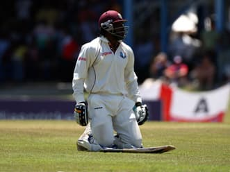 Chris Gayle hits half-century on Test comeback