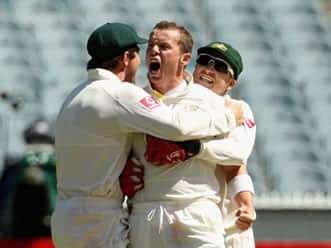 Michael Clarke, James Pattinson and Peter Siddle post match interview at the end of the first Test