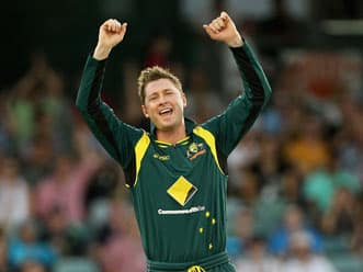 Michael Clarke speaks at the end of 3rd ODI against Australia