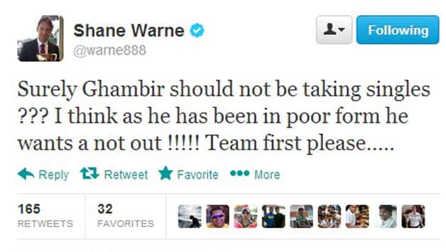 Shane Warne's tweet about Gautam Gambhir's pathetic show on the final day is fully justified