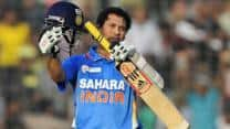 The Indian tricolour looked apt on Sachin Tendulkar's navy blue helmet