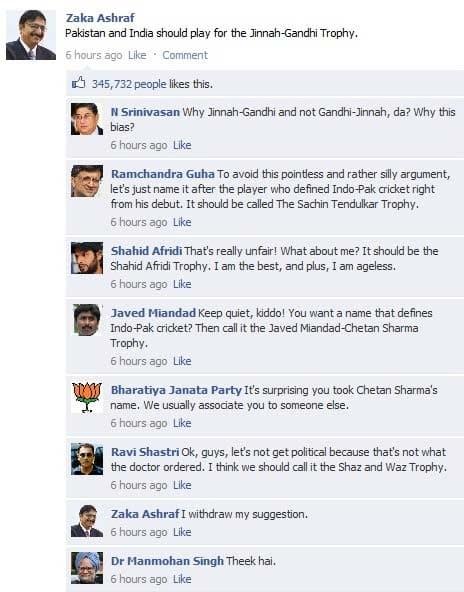 Pakistan & India should play for Jinnah-Gandhi Trophy, says Zaka Ashraf!