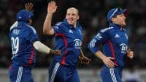 James Tredwell takes four wickets as England beat India by nine runs