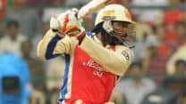 Brendon McCullum congratulates Chris Gayle on record-breaking ton