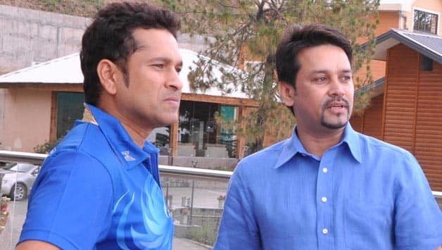 Image result for anurag thakur with tendulkar