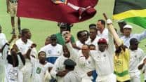 Needing 19 for victory with one wicket in hand, Jimmy Adams scripts a thriller with Courtney Walsh