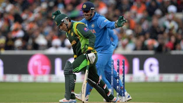 Misbah-ul-Haq getting bowled against India