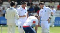 Graeme Swann avoids fracture to bowling arm in Ashes warm-up against Essex