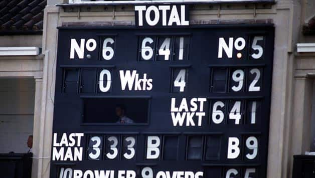 Graham Gooch scores 333 and 123 in the same Test