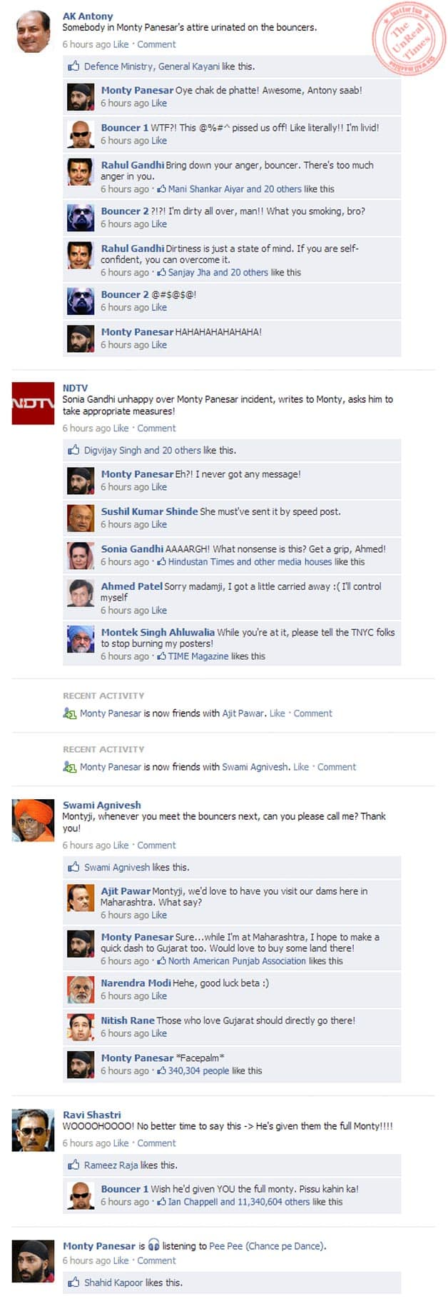 Monty Panesar's act: Cricketers, politicians discuss it on their Facebook Wall