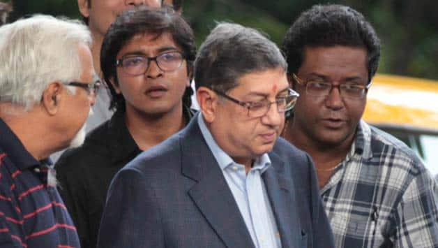N Srinivasan arrives to attend for BCCI's disciplinary committee meeting