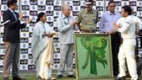 Sachin Tendulkar's 199th Test: West Bengal CM Mamata Banerjee presents her painting to batting legend