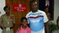 Richie Richardson, West Indies team meet 9-year-old Krishna Narayan
