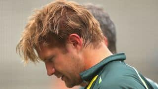 Shane Watson in distress after being hit by bouncer